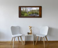 Fine Art C-print, framed in rusted iron, Birchtrees in a room
